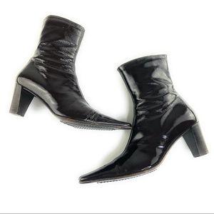 Aquatalia Dark Chocolate Patent Leather Pointy Toe